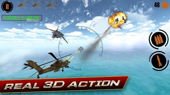 这是一款直升机飞行射击类游戏