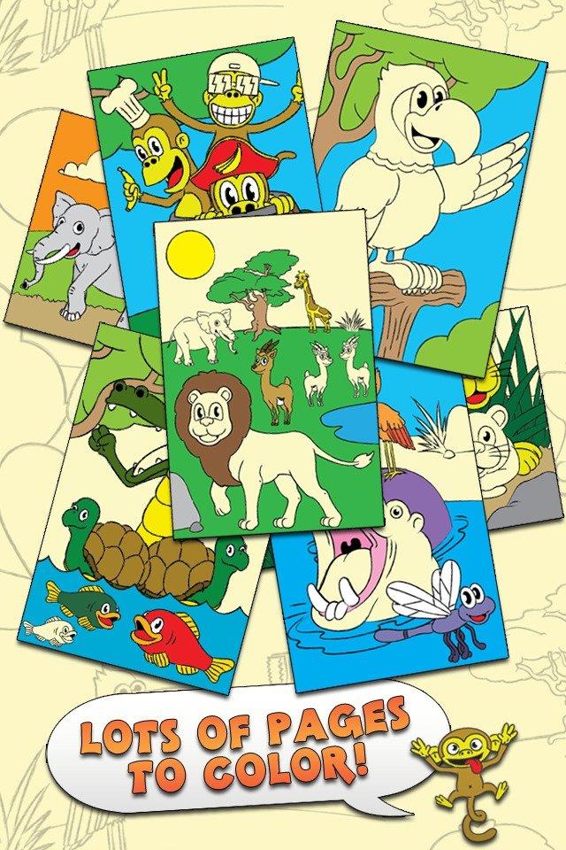 对于学龄前孩子和家庭旗舰版,着色动物园触摸彩色活动