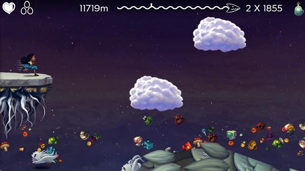 虽然iOS商店里永远不会缺乏跑酷游戏,但是相信玩家永远也不会拒绝一款充满创意的跑酷新作。玩家将在巨龙的龙背上拼命奔跑,除了躲避迎面袭来的飞龙以外,还得对付各式不可思议的怪物并且收集各式道具。其中收集水滴(游戏通用货币)也是重要任务之一。玩家可以利用水滴在飞船里兑换各种过硬的道具,从而令下次的挑战来得更顺利一些。虽然游戏的难度不低,但是操作极为简单。事实上,玩家全程只需点击屏幕的左右两侧即可。