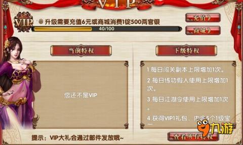 卧虎藏龙vip特权细节九游独家曝光