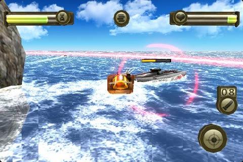 本游戏中我军海洋战舰在红色范围内去攻击敌方战舰!