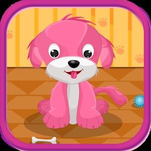 可爱的小狗女孩子的游戏