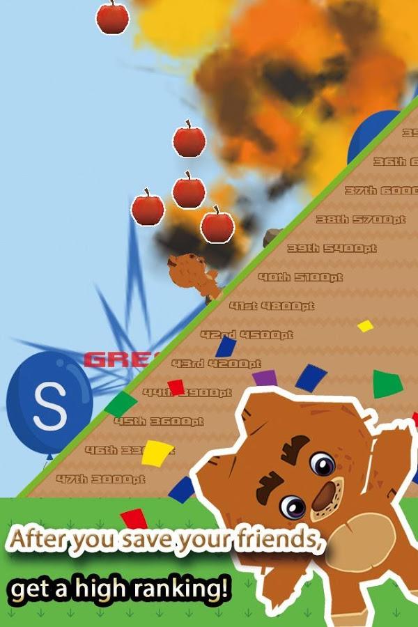 可爱的小熊扔石头砸破气球简单有趣的动作游戏!