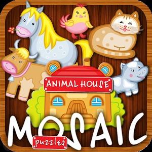 动画拼图房子动物