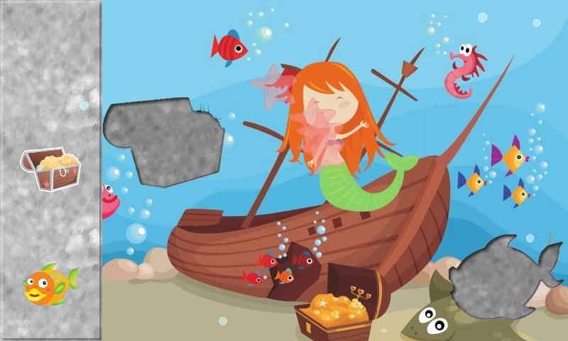 美人鱼拼图幼儿和小女孩的教育和娱乐游戏.