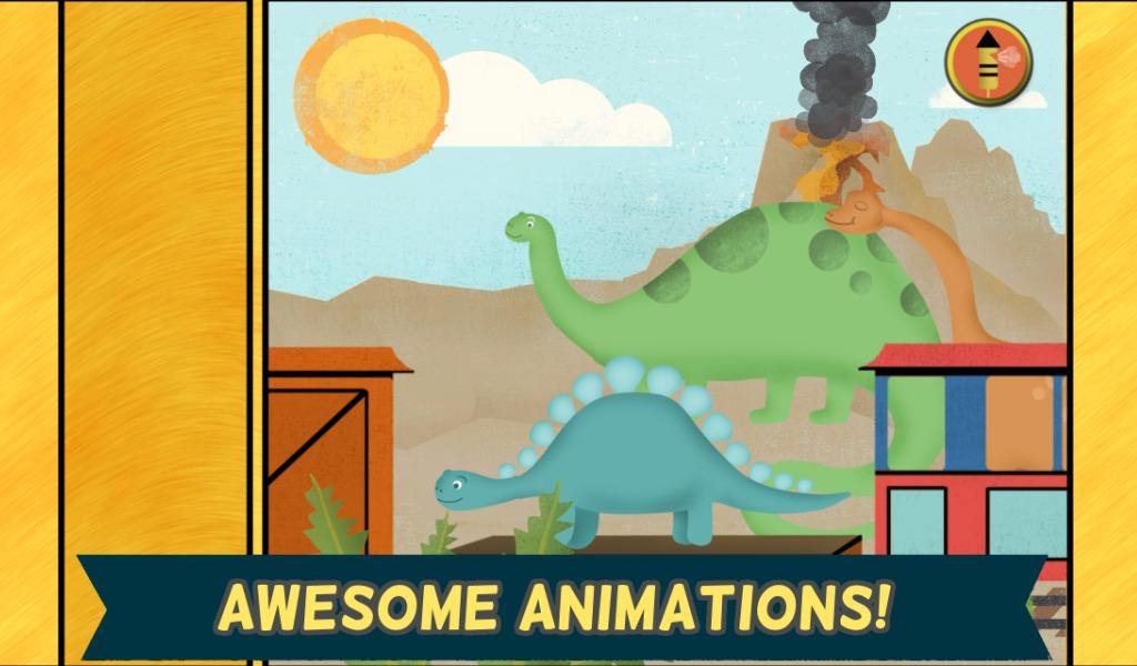 适合孩子的恐龙游戏:幼儿园的可爱恐龙火车拼图游戏