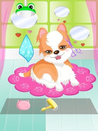 可爱狗狗要洗澡