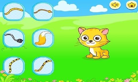 本游戏通过为各种活泼可爱的动物找到自己的尾巴来锻炼孩子们的认知和