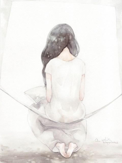 淡色水彩画风动漫美女壁纸