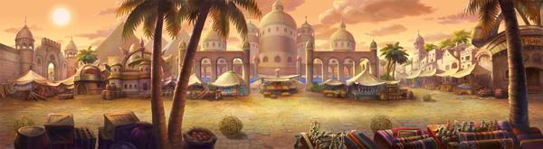 古代沙漠场景手绘