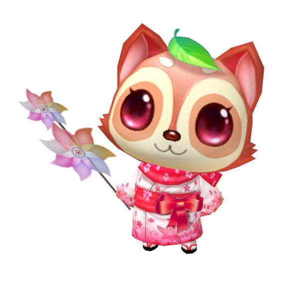 终极形态的狸猫宝宝变成了有着水汪汪大眼睛的萌妹子,穿着和服拿着小