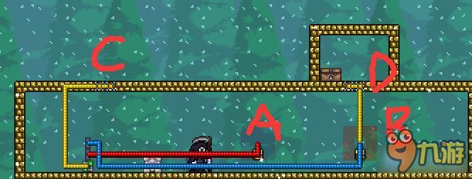启动器3(或者6)用法 也介绍一个解谜地图的手段,可以用启动器3制作解谜的游戏(其实123456都可以这么用,哈哈,只是我没想到3,6很特别的地方,所以,你懂的) 如图所示,右边1234,4个灯泡,左边A,B,C三个拉杆。A连接灯泡2,3,B连接灯泡3,4,C连接灯泡1,2.当你通过排列组合,使得1234只有一个灯泡亮时,即可促发下面的物块虚化,达到通过目的