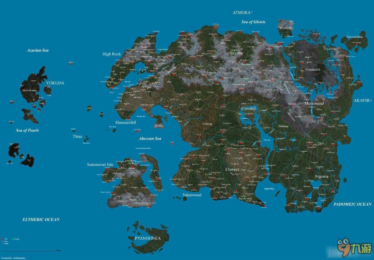 上古卷轴5地图尺寸大小是多少
