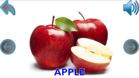 婴儿学会的水果,如苹果,梨,李子,波斯,杏,甜瓜,柿子,石榴,香蕉,橙子