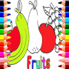 Coloring book for kids (fruits)