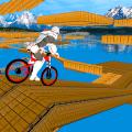 不可能的bmx机器人自行车垂直坡道