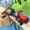 US Farm Tractor Driver Real Off-Road Uphill Drive