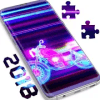 Neon Motorcycle Puzzle Game